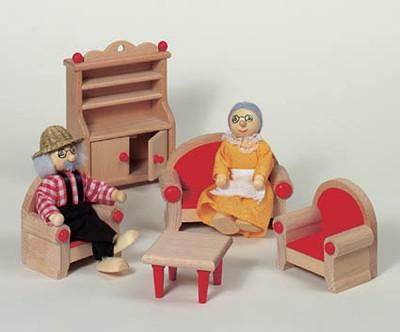 """Puppenhausmöbel """"Wohnzimmer"""" natur"""