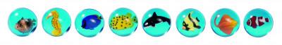 Flummy mit 3D Fischen 8er Set