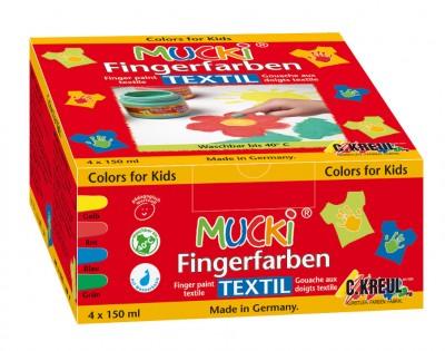MUCKI 4 x Fingerfarben Textil