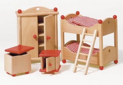 """Puppenhausmöbel """"Kinderzimmer natur"""""""