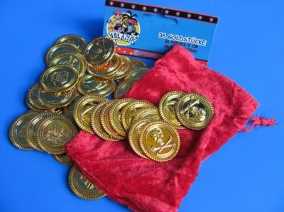 Goldmünzen mit Säckchen
