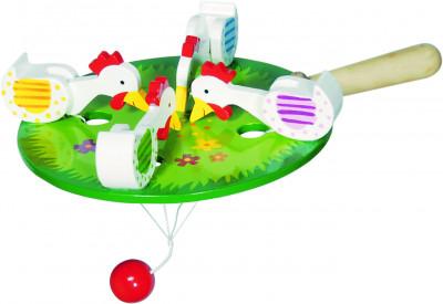 4 pickende Hühner