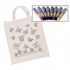 8 Textilmalstifte mit Baumwollbeutel Schmetterling